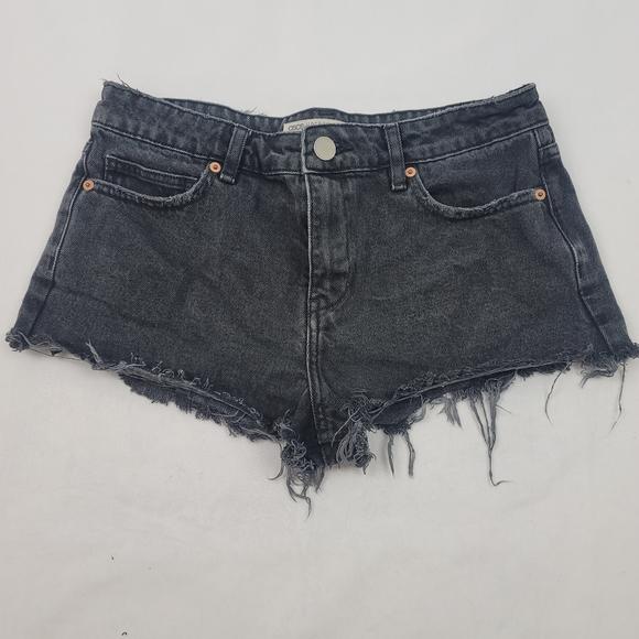 Asos cheeky cutoff black denim raw hem shorts